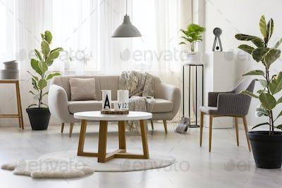 Beige sofa against window