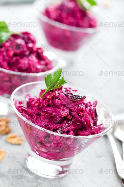 Beet salad. Salad of boiled beet. Beetroot salad