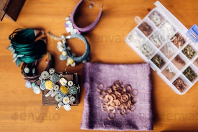 Equipment for needlework, bracelets, top view