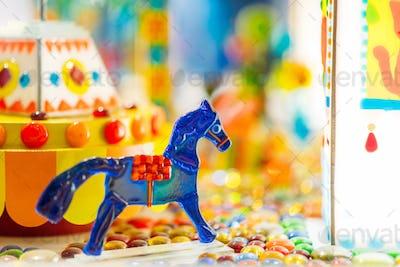 Handmade sugar caramel horse in showcase