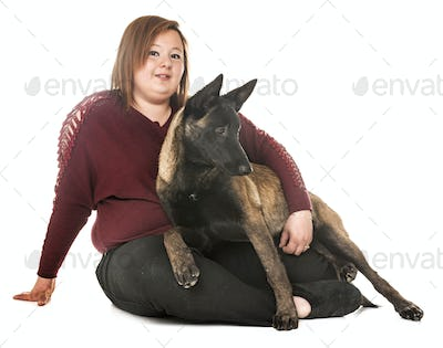 belgian shepherd malinois and woman