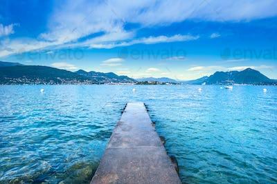 Isola Bella concrete jetty or pier in Maggiore lake, Borromean I