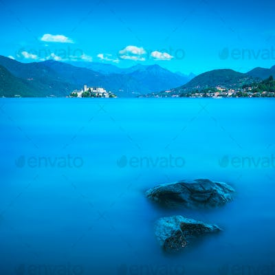 Orta Lake landscape. Orta San Giulio village and island Isola S.