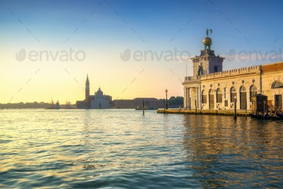Venice lagoon, San Giorgio church and Punta della Dogana at sunr