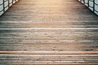 Wooden pier bridge