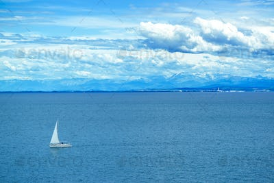 Sailing boat at sea