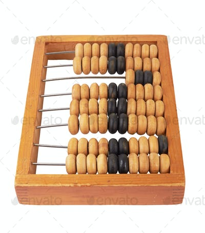 wooden abacus isolated on white