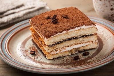 Tiramisu cake on a plate
