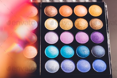 Eyeshadow palette with colorful eyeshadows.
