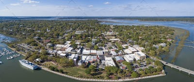 Aerial panorama of Beaufort, South Carolina with cruise ship in