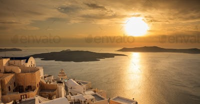 Santorini island, Greece - Sunset over Aegean sea