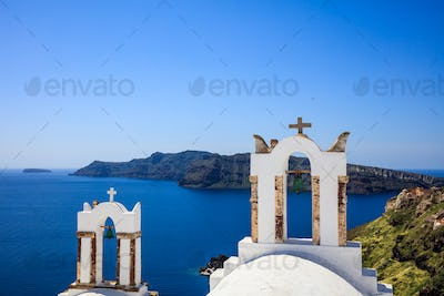 Bell tower in Santorini, Greece