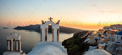 Sunset over Aegean sea at Santorini island Greece