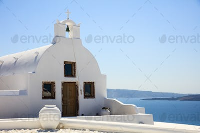 White church in Santorini Greece