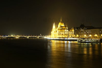 Hungarian Parliament in Budapest at night
