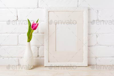 White frame mockup with magenta pink tulips