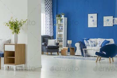 Spacious room with blue armchairs