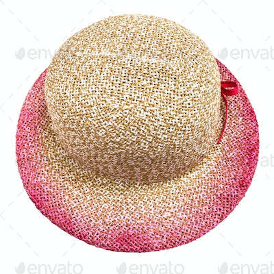 above view of straw hat with pink narrow brim