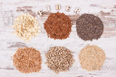 Healthy products and ingredients as source natural vitamins and dietary fiber