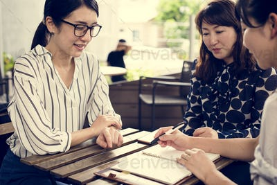 Business team people discussion at coffee shop