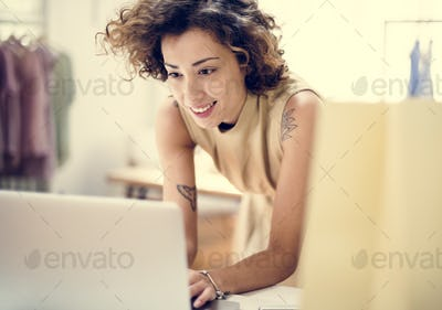 Woman working on projects