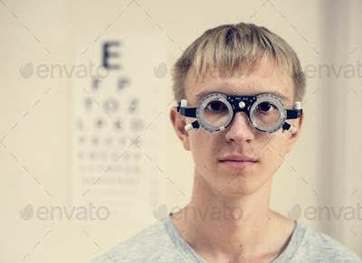 Young man is having sight testing