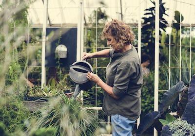 Woman working in a gardening shop