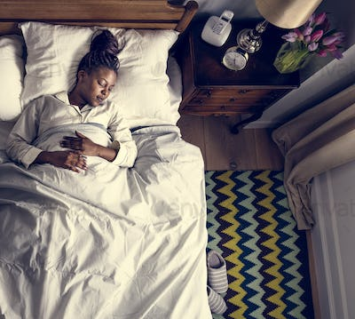 African American woman sleeping soundly