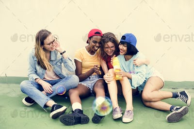 Group of diverse women having fun together