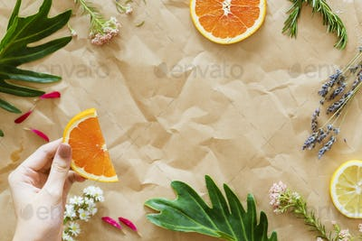 Healthy tasty summer fruits on brown paper