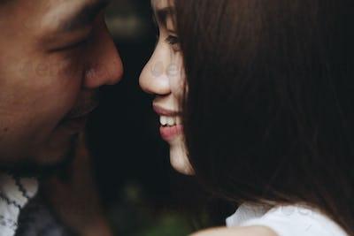 Intimate romantic sweet asian couple