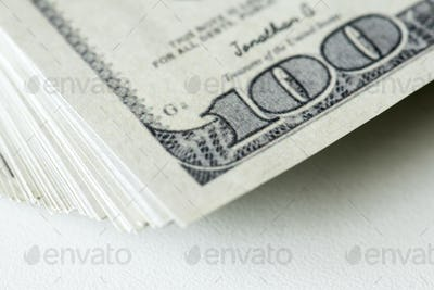 Closeup of hundred dollar bills