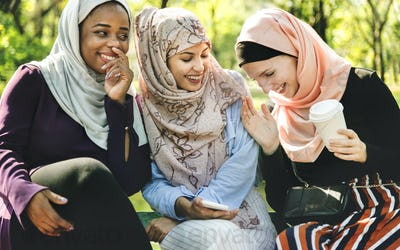 Islamic women friends talking and having fun