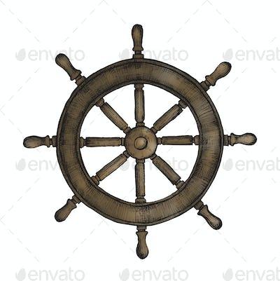 Hand drawn ship wheel
