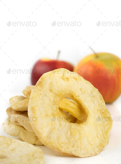 A close up of dried apple rings