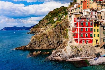 View of the village Riomaggiore. Cinque Terre National Park, Liguria Italy.