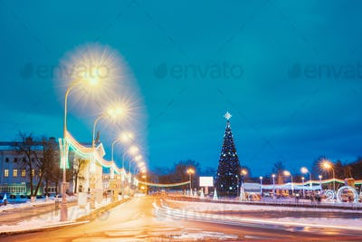 Christmas Tree And Festive Illumination On Lenin Square In Gomel