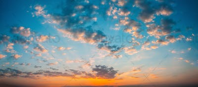 Panorama Sunset Sunrise Sky Background. Natural Bright Dramatic