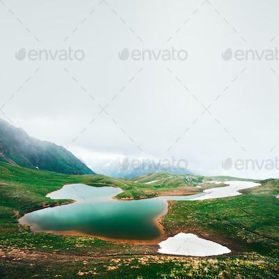 Koruldi lake Caucasus mountains on summer time