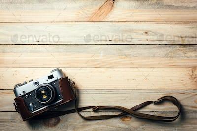 Old vintage film photo camera
