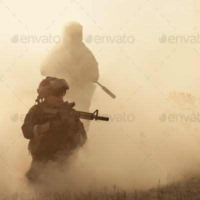 US Marines in action. Desert sandstorm