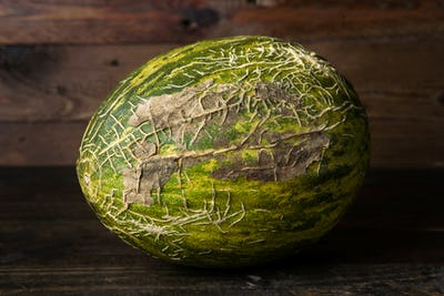 whole melon on rustic wooden board