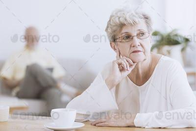 Irritated elder woman