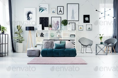 Scandi living room with posters
