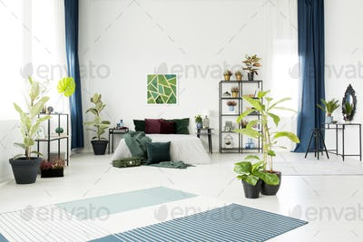 Bed in white spacious interior