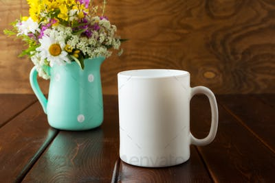 White coffee mug rustic mockup with wildflowers in mint green va