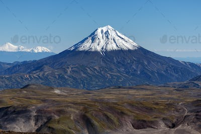 Scenery Autumn Mountain Landscape - View of Snowcapped Cone of Volcano