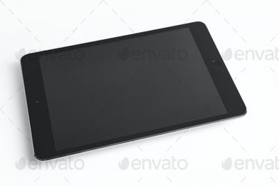 Tablet isolated on white. Electronic device. Digital workplace. Horizontal