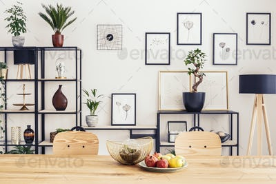 Posters in dining room interior