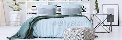 Pastel blue bedclothes